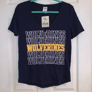 PINK Michigan Wolverines V-neck Shirt - NWT